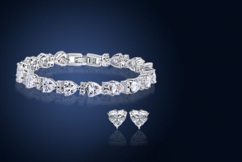 Heart Tennis Jewellery Duo Set made from Cubic Zirconia