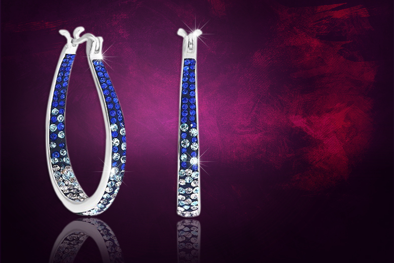 £6 instead of £84 (from Evoked Design) for a pair of inside-out blue and clear crystal hoop earrings made with Swarovski Elements - save 93%