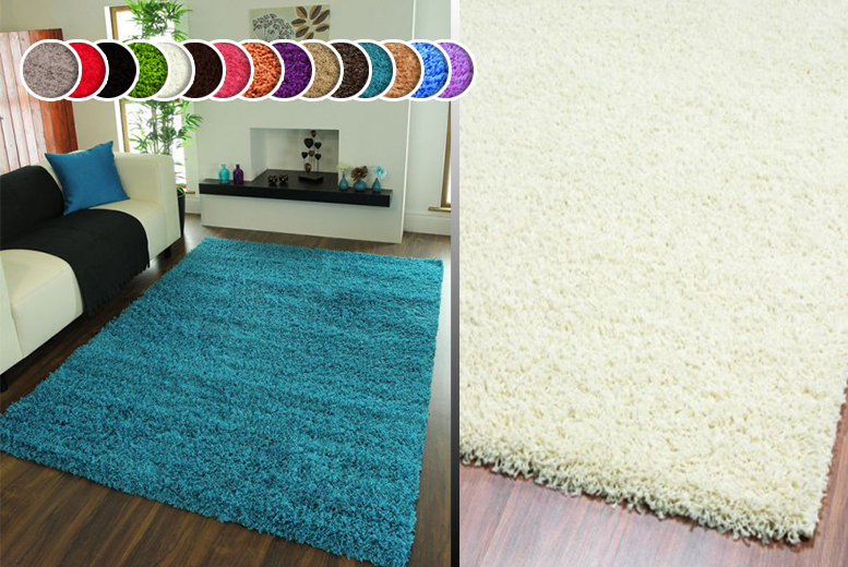 From £10 instead of £29.99 for a shaggy rug in one of six sizes - choose from 10 colours and save up to 67%