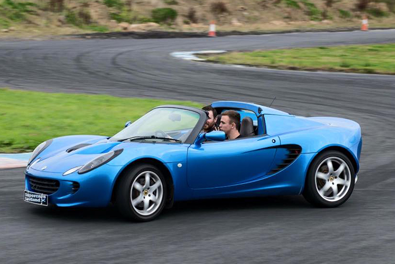 £59 for a three-lap supercar experience in a Porsche S or Lotus Elise including two passenger sighting laps with Supercars Scotland!