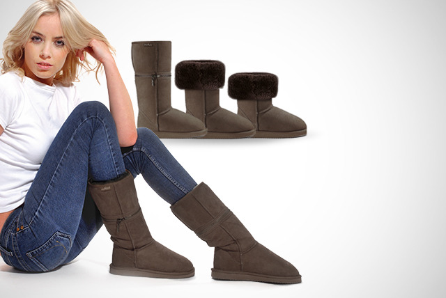 £54.98 instead of £200 for a pair of Australian sheepskin Zippyboots in black, chocolate or chestnut - save 73%