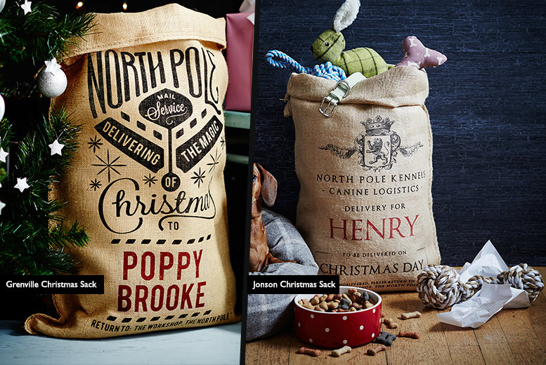 £7.99 instead of £22 (from The Handmade Christmas Company) for a personalised Christmas sack, or £13.99 for two - save up to 64%