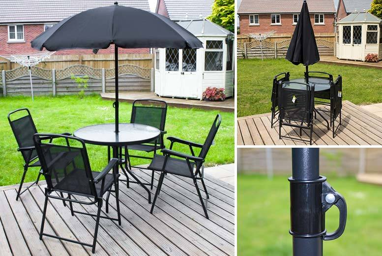 Buy 6pc foldable garden furniture set with parasol uk deal for Garden furniture set deals