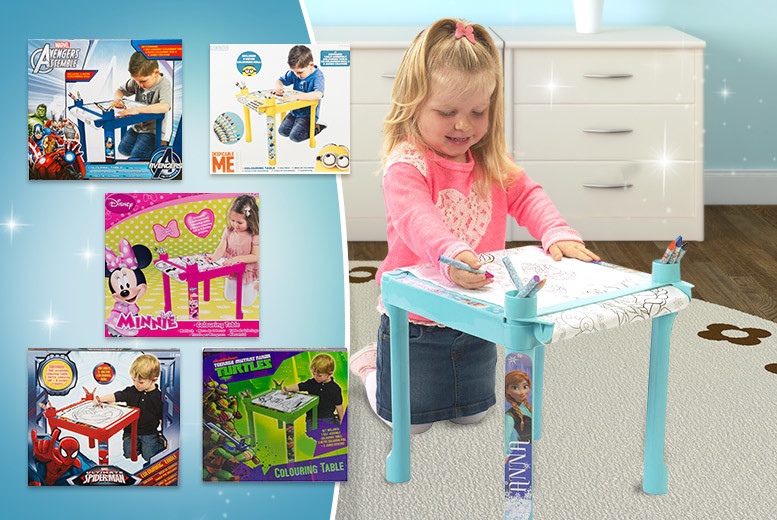Kids Colouring Table - Spiderman, Frozen, Minions, Avengers and more!