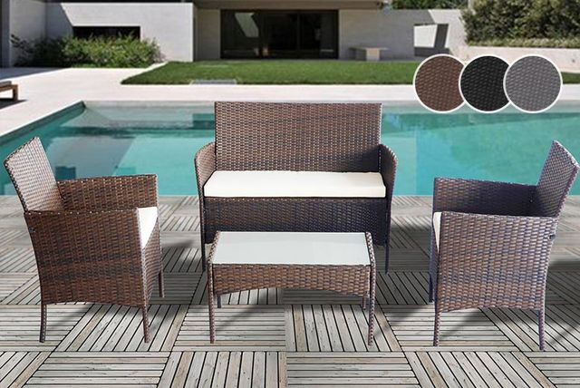 4 piece rattan furniture set 3 colours - Garden Furniture Colours