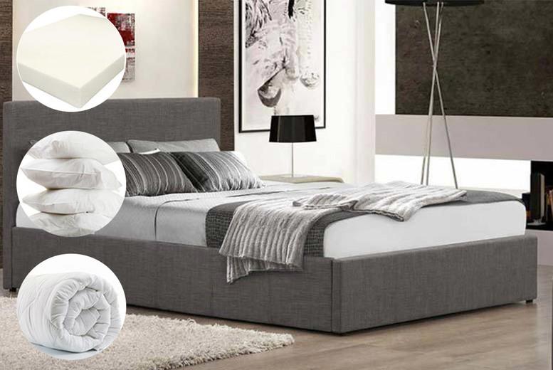5pc Fabric Ottoman Storage Bed, Memory Mattress & Bedding Set