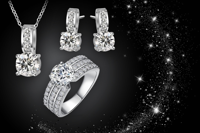 £12 instead of £199.99 (from Fakurma) for an 18k white gold-plated crystal set including a ring, earrings and necklace - save 94%
