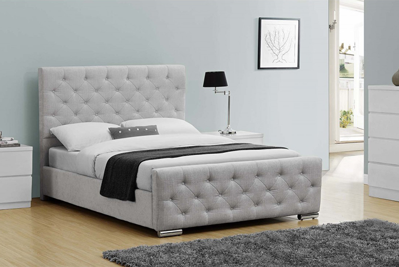 £189 for a double Buckingham fabric bed, £218 for a king size or from £289 to include an orthopaedic mattress  - choose from two colours and save up to 58%