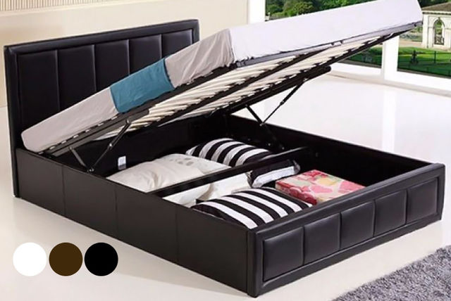 Beau Faux Leather Ottoman Gas Lift Storage Bed With Mattress Options   3 Colours!