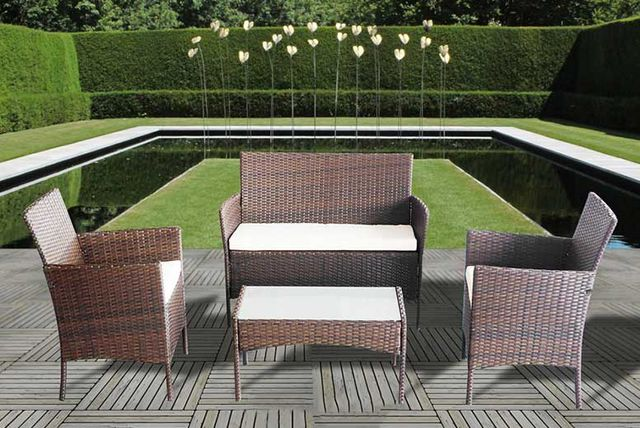 4pc rattan garden furniture set 3 colours