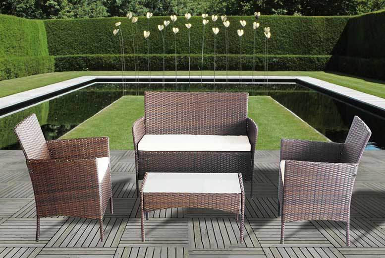 4pc rattan garden furniture set 3 colours get a four piece garden furniture set choice of grey brown and black made from weatherproof and durable