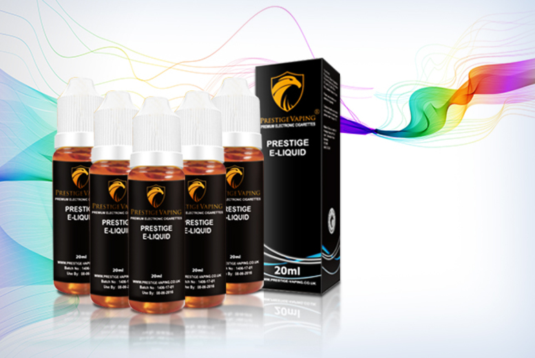 £11.99 instead of £29.95 (from Prestige Vaping) for five XL 20ml e-liquid refills - choose from 50 flavours and save 60%