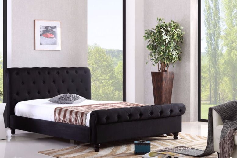Luxury Chesterfield Fabric Bed Frame - 2 colours!