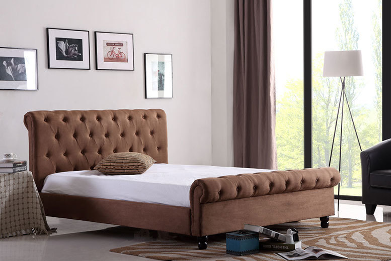 Luxury Designer Fabric Chesterfield Bed - 2 Colours!