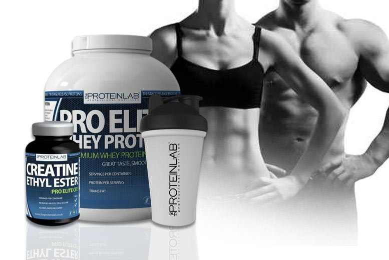 £34 instead of £103.97 for a 28-day* supply of Pro Elite Whey Protein with a 600ml shaker and 240 creatine ethyl ester supplements - save 67%