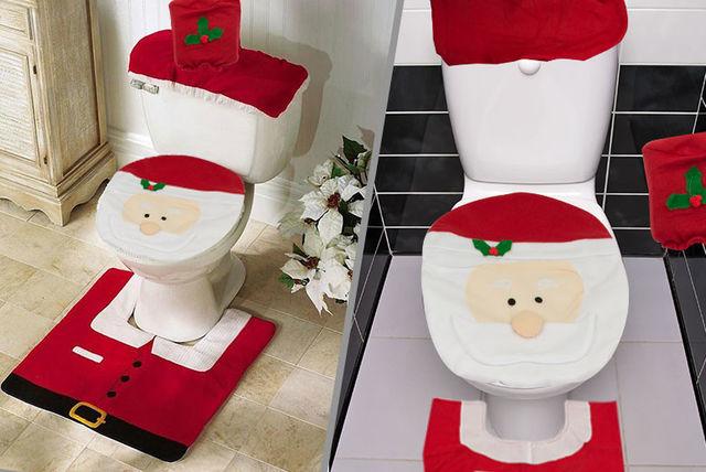 3pc Santa Toilet Seat Cover Set Shop Wowcher
