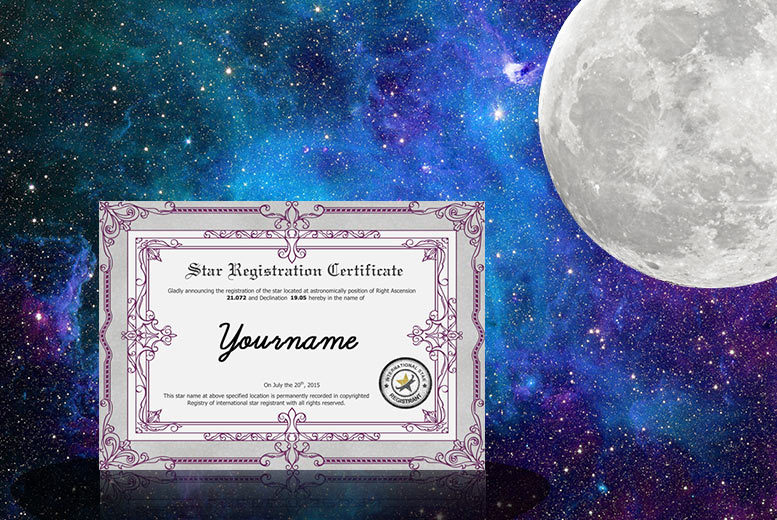 £9.99 instead of £25.40 (from International Star Registrant) for a personalised 'Name A Star' gift, PDF registration certificate, star chart & photo e-book - save 61%