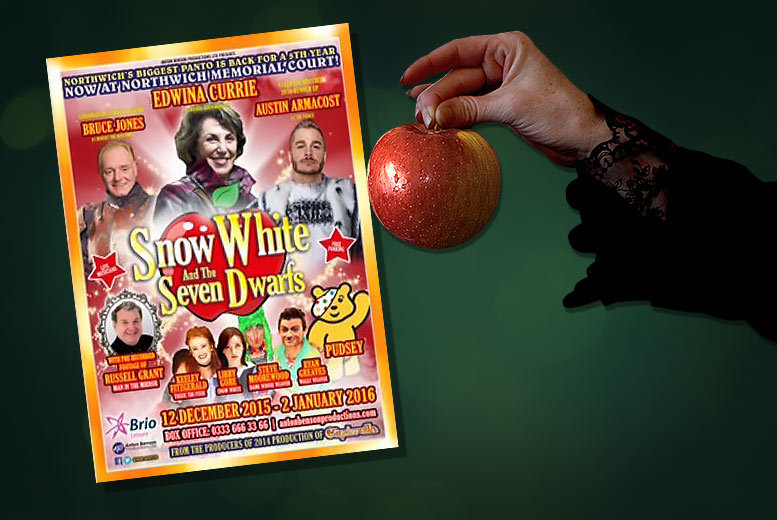 £7 instead of £15 (from AB Productions) for a ticket to Snow White and the Seven Dwarfs at Northwich Memorial Court - save 53%
