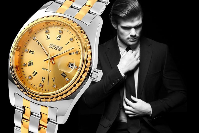 £16 instead of £79.99 (from Fakurma) for a classic men's two-tone steel and gold-plated watch in a choice of three designs - save 80%