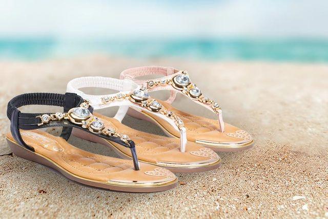 embellished jewel t-bar sandals