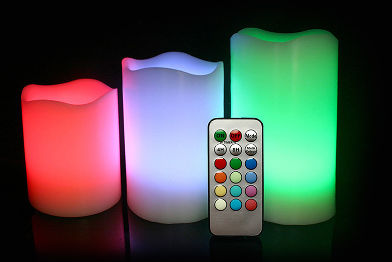 £8 instead of £39.99 (from SA Products) for three vanilla-scented colour-changing LED candles - set the mood and save 80%