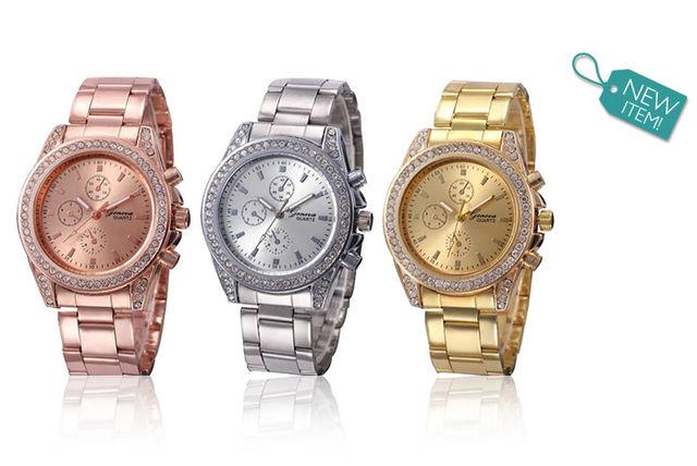 ladies crystal geneva fashion watch