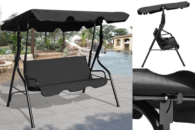 3-Seater Garden Swing Seat – 2 Colours! from £54