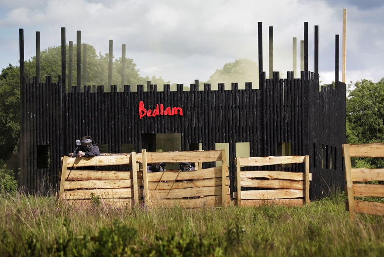 £5 for paintballing for up to five people, £10 for up to 10 people, £12 for up to 15 people or £14 for up to 20 people at Bedlam Paintball - save up to 95%