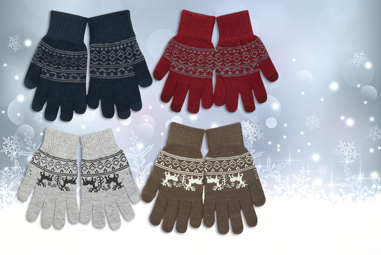 £2 instead of £11 (from UK Home and Garden) for a pair of winter gloves with touch screen fingers - choose designs in red, blue, grey or brown and save 82%