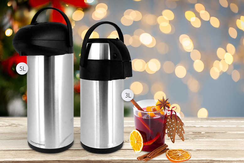 £15 instead of £46.01 for a three-litre stainless steel airpot drinks flask with pump action, or £18 for a five-litre flask - save up to 67%
