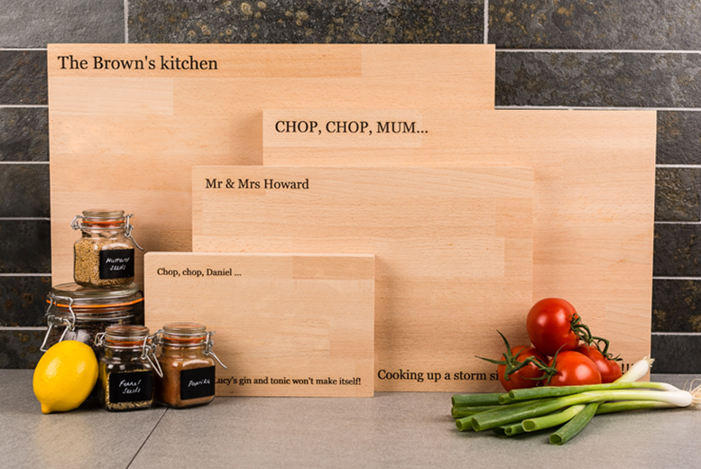£7.99 (from Personal to Me) for a small personalised chopping board, £13.99 for a medium board, £21.99 for large, £25.99 for extra large - save up to 68%