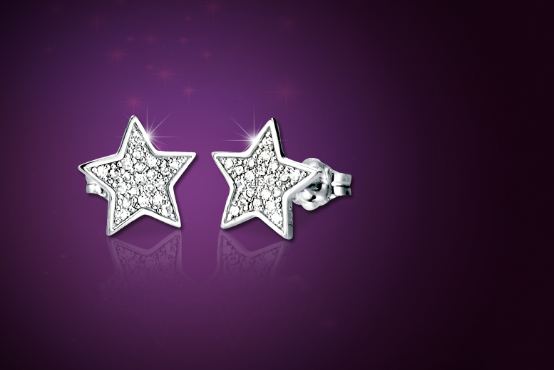 £5 instead of £50 (from Jewel Unique) for a pair of 18ct white gold-plated pavé star earrings made with Swarovski Elements crystals - save 90%