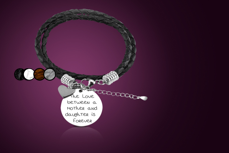 £5 instead of £45 (from Cian Jewels) for an engraved personalised quote leather bracelet - save 89%