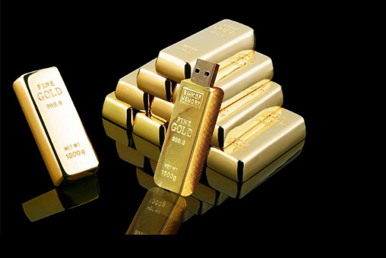 £6.99 instead of £34.99 (from E-Smartshop) for a 64GB gold bar USB flash drive, £9.99 for a 128GB gold bar USB flash drive - save your work and up to 80%
