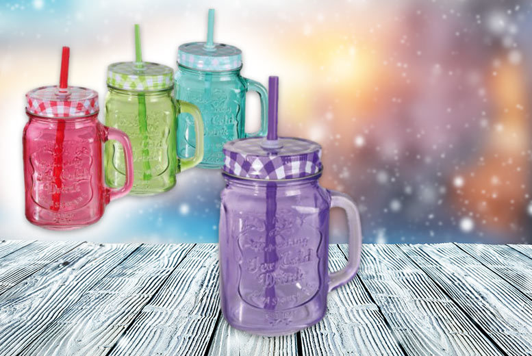 £6 instead of £22.01 for a set of four Mason jam jar drinking glasses, £10 for a set of eight glasses - save up to 73%