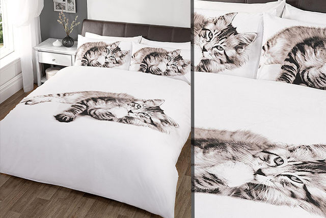 Cat Patterned Duvet Cover Set Shop Wowcher