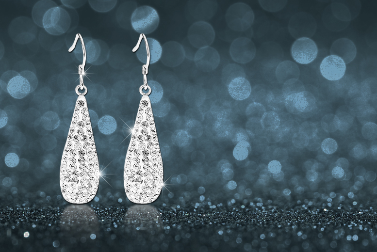 £6 instead of £58 (from Evoked Design) for a pair of dangle teardrop earrings made with Swarovski Elements - save a sparkling 90%