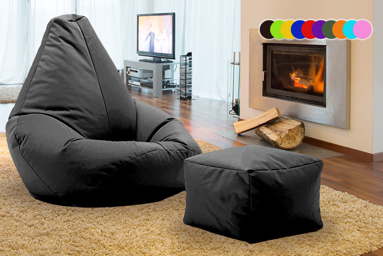 Highback Beanbag with Matching Footstool – 11 Colours! from £28