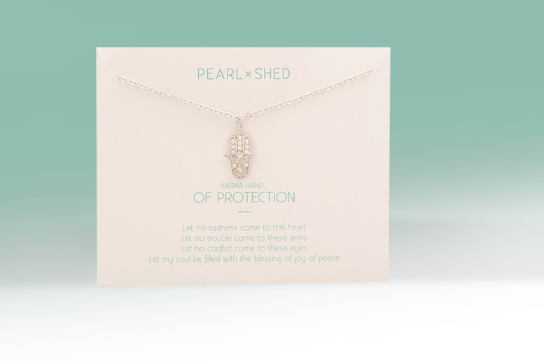 £6 instead of £33.01 (from Pearl Shed) for a buddha or hamsa hand necklace presented on a poem card - save 82%