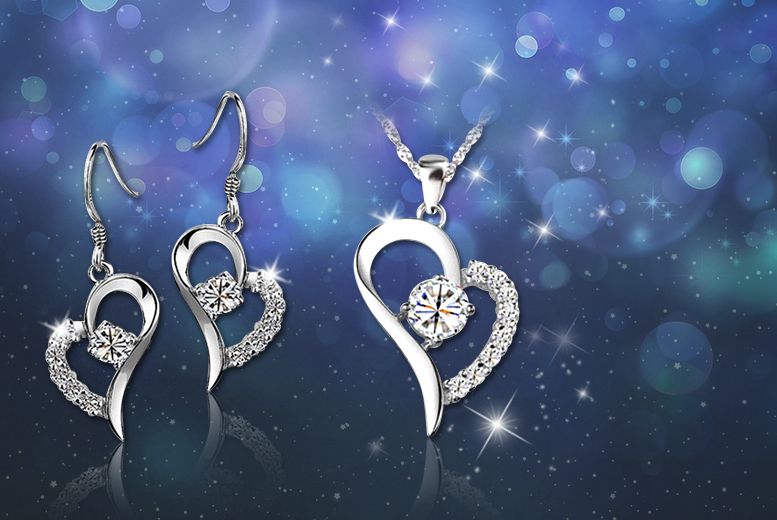 £9 instead of £129.99 (from Your Ideal Gift) for an 18k white gold-plated heart pendant and earring set made with Swarovski Elements - save 93%