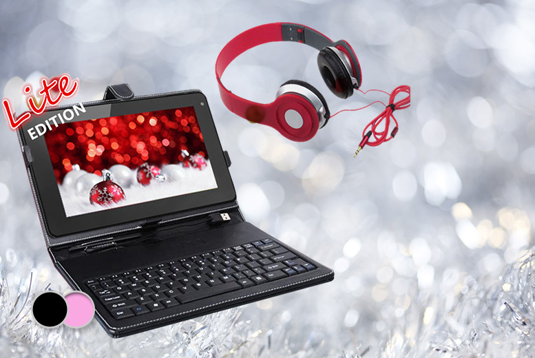"£54 instead of £189 for a quad core 9"" SmartPad Lite android tablet bundle, with headphones and your choice of a black or pink keyboard case - save 71%"
