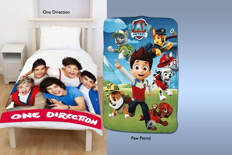 From £4 instead of £14.99 (from Linen Ideas) for a children\'s fleece blanket in a choice of eight designs including Minions, Frozen and One Direction - save up to 73%