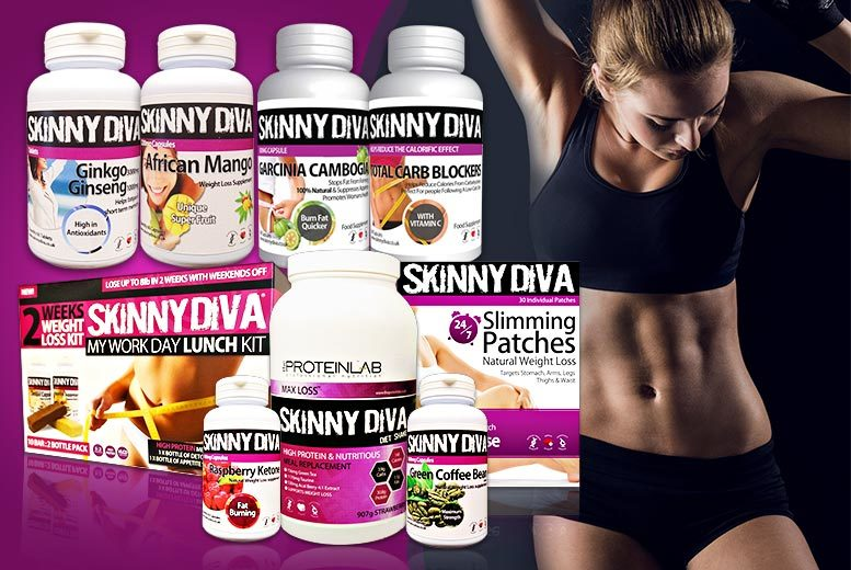 £79 instead of up to £281.96 (from Skinny Diva) for a 'Ultimate Weight Loss Pack' inc. meal replacement shakes, raspberry ketones & more - save  72%