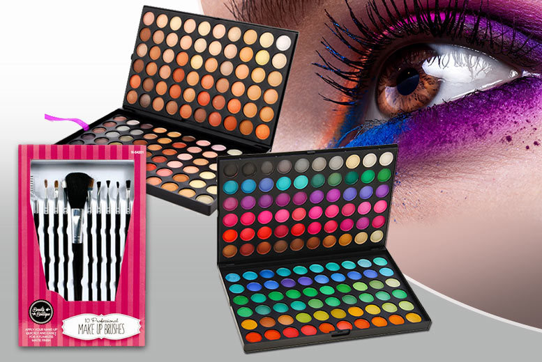 £10 instead of £69.99 (from SalonBoxed) for two 120-colour eyeshadow palettes with ten brushes - save 86%