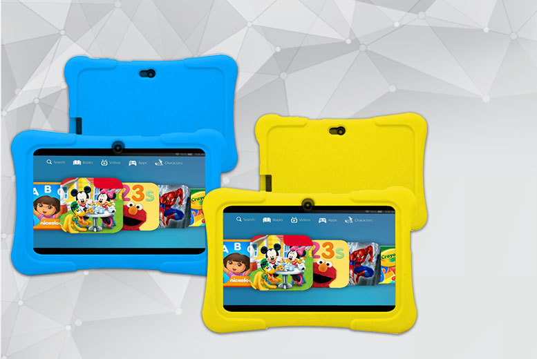 """£32 instead of £129.99 for a kids' 7"""" dual-core touchscreen Android tablet and silicone case - choose from four colours and save 75%"""