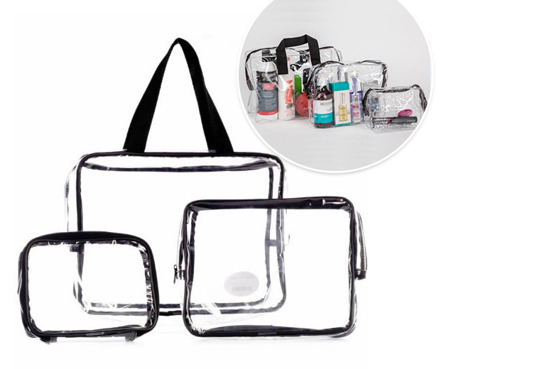3pc Clear Makeup Travel Bag Set from £7