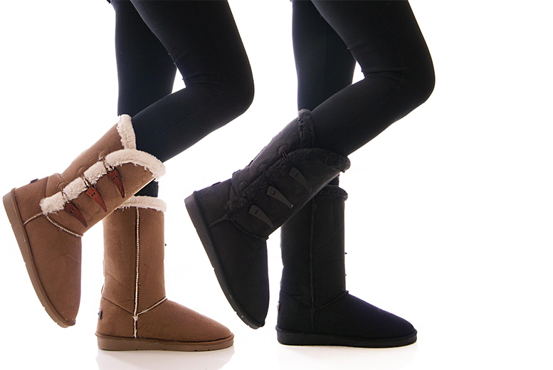 £9.99 instead of £49.99 (from Solewish) for a pair of stylish faux fur lined boots - choose from two colours and save 80%