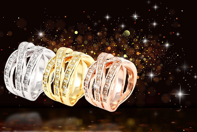 Interlaced Ring with Swarovski Elements - 3 colours!