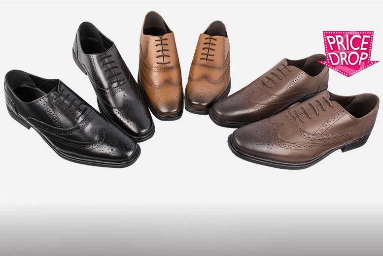 £22.99 instead of £120 for a pair of men\'s genuine leather brogues - choose from three colours in sizes 7-14 and save 81%