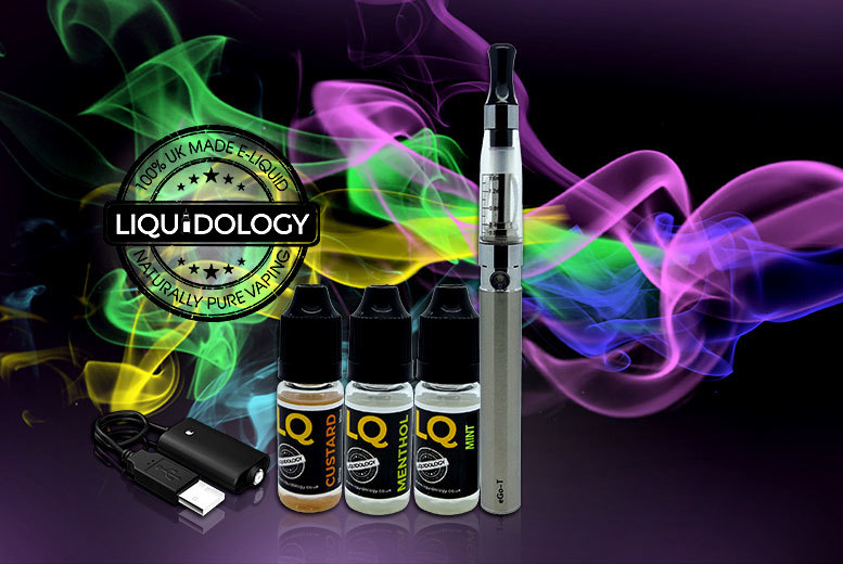 £9.99 instead of £36 (from Liquidology) for an e-cigarette starter kit with three e-liquids - save up to 72%